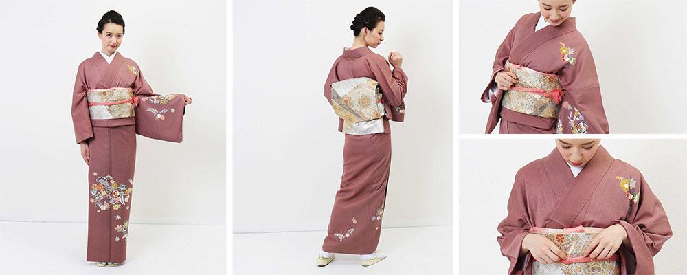 蘇芳香色に豪華な花模様の着物レンタル