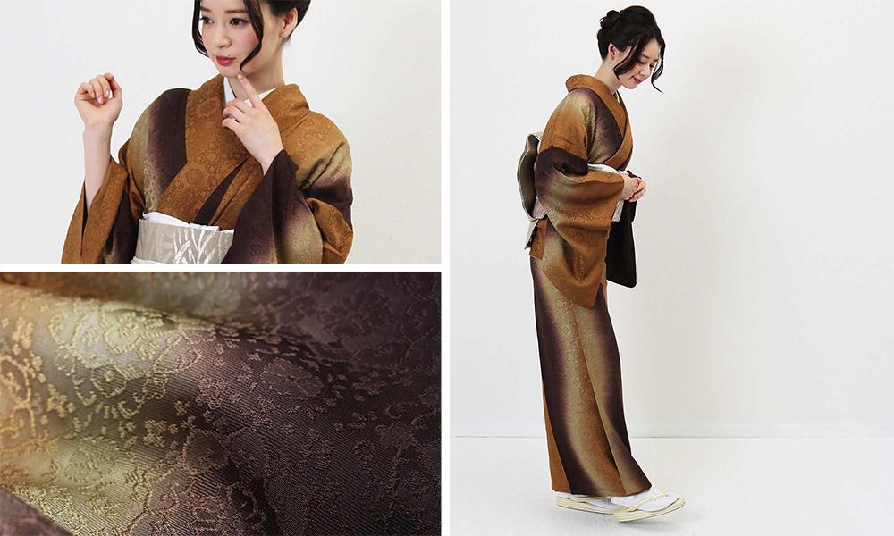 単衣 | 金茶のグラデーションと花の地紋