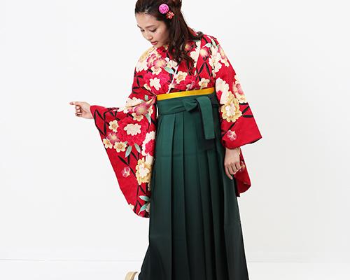 hataoriおすすめの卒業式袴レンタル 赤と緑