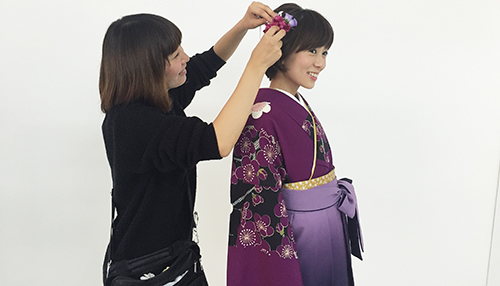 袴撮影 ヘアメイク風景151207