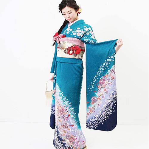 30000円台の振袖レンタル エメラルドブルーの桜