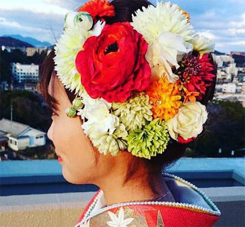 振袖 花の髪飾り