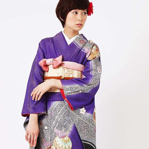 振袖 | 紫色に折り鶴と手まり