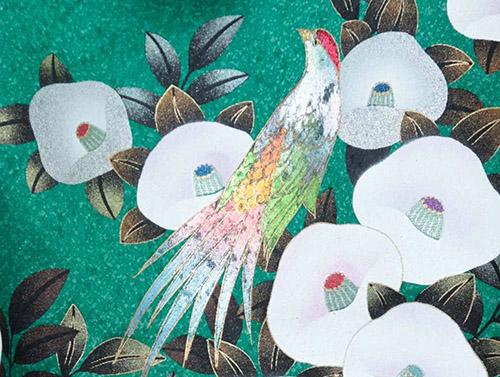 白椿と鳥 春の着物文様