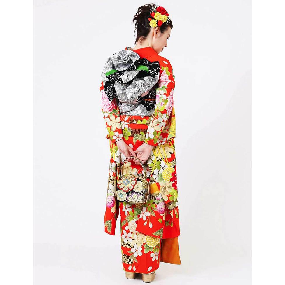 振袖レンタル | 橙地芍薬に四季花舞