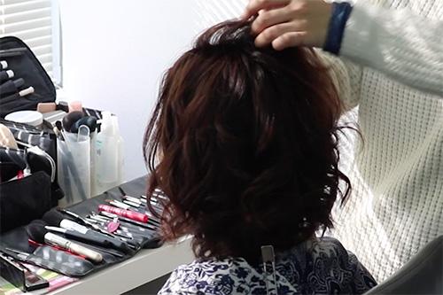 着物に似合うミディアムヘアスタイルの作り方03