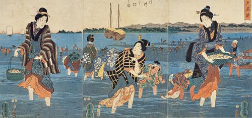 江戸時代 着物を着て潮干狩り
