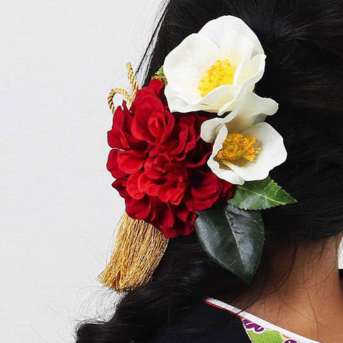 髪飾り | 白椿と赤いダリア