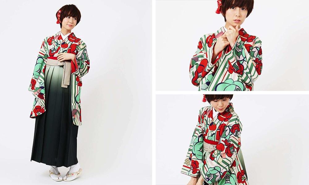 ポップなカラーと縦縞に椿のデザイン卒業式袴