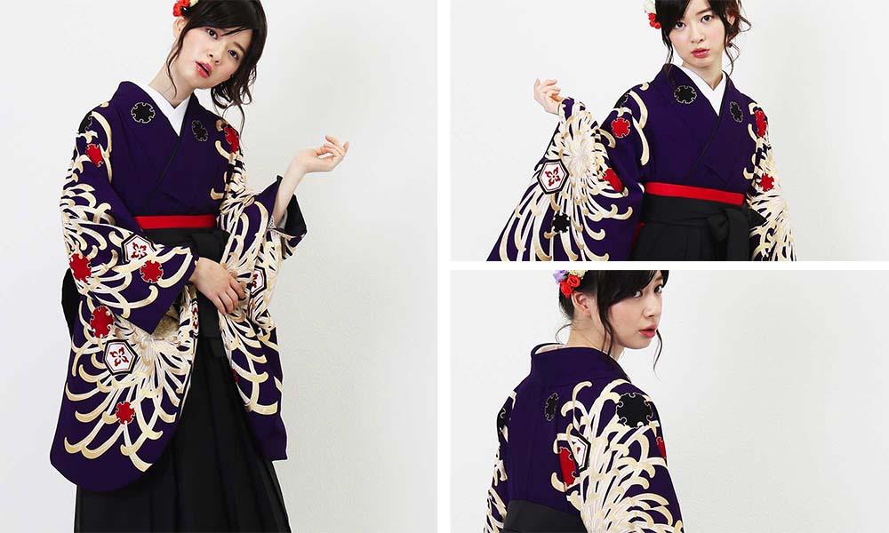人気4位!紫地に菊の大輪の卒業式袴