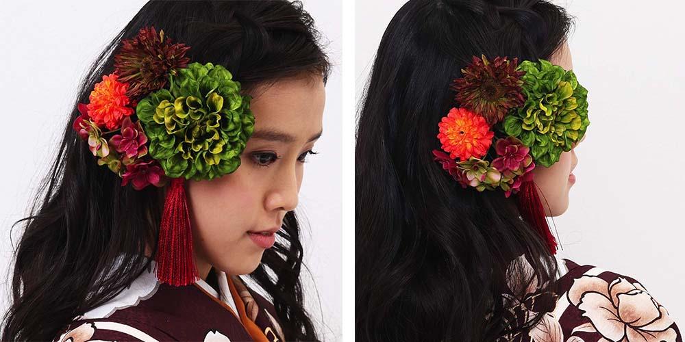 髪飾りレンタル 緑ダリアのノスタルジア