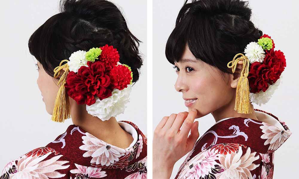 髪飾りレンタル 大きな赤ダリア