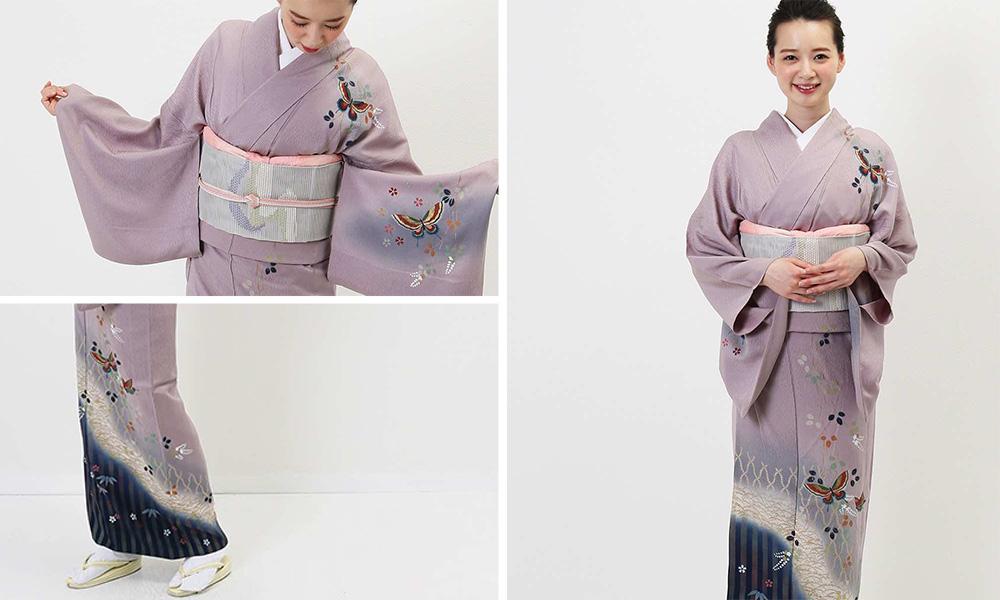 ぼかしの美しい薄紫色の正絹単衣