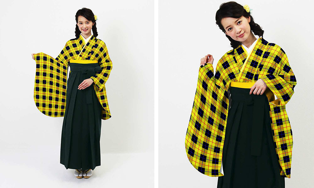 町娘スタイル お洒落チェック 黄×黒 卒業式袴 (新品) | お洒落チェック黄×黒 の袴レンタル