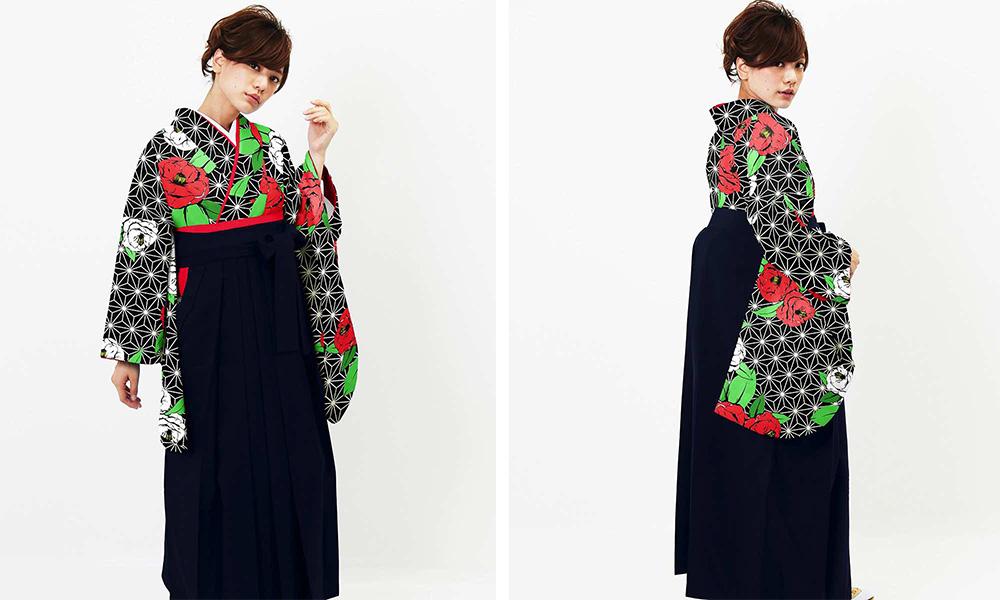 【限定10着】卒業式袴 (新品) | 麻の葉に紅白の大椿 黒
