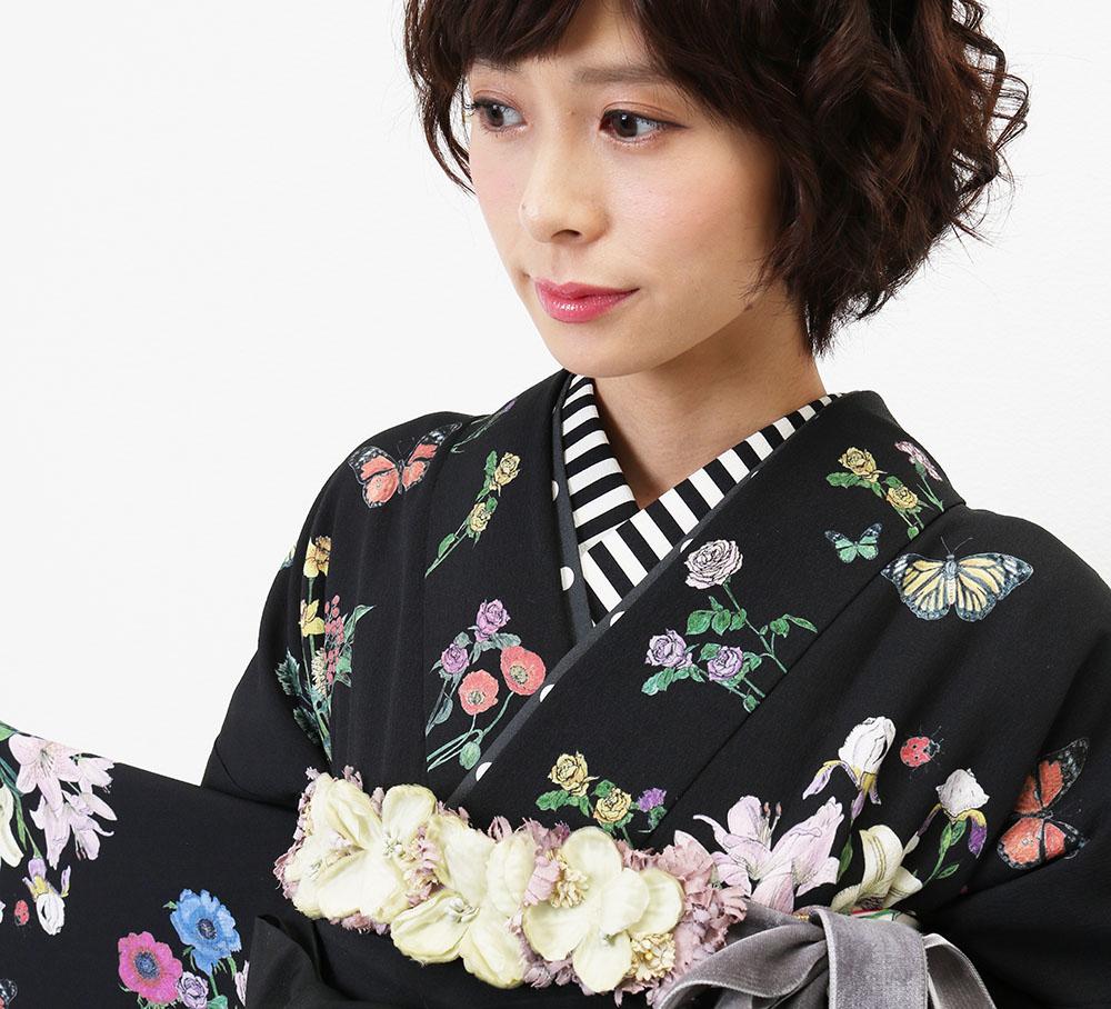 MarMuの袴 Night Garden ブラック×ピンク