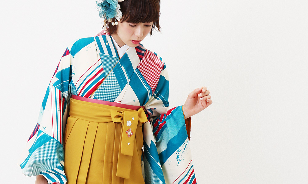 袴の撮影風景 ブルーのモダン袴