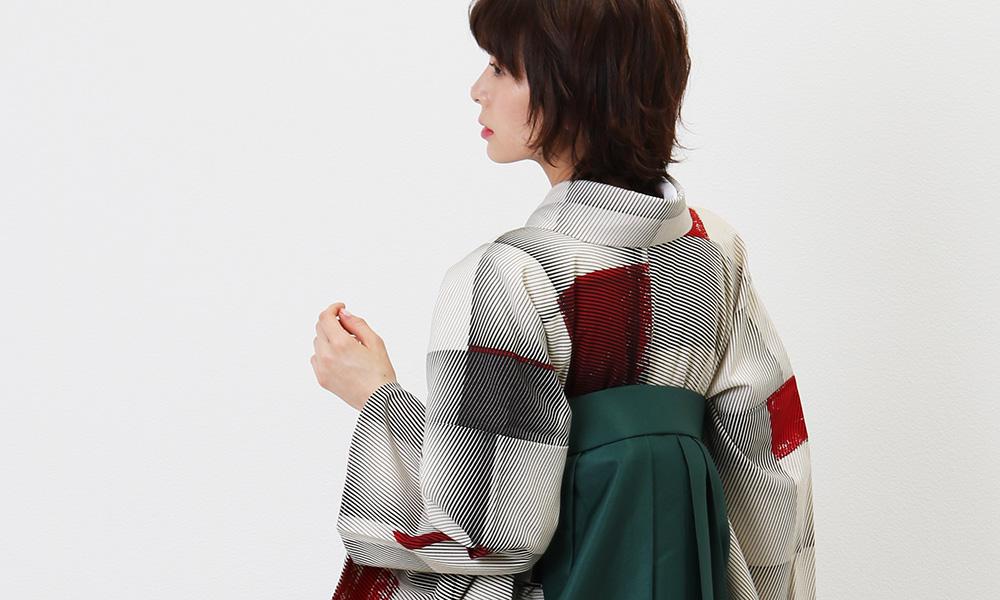 キューブ模様のデザイン袴
