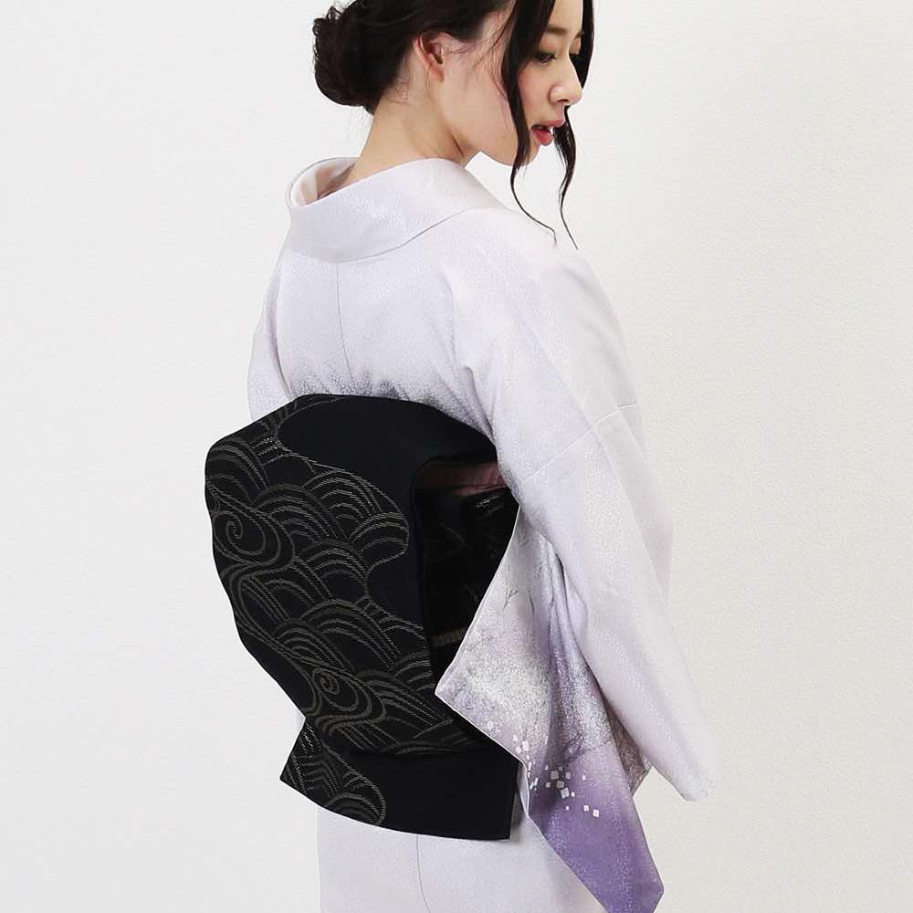 5月の単衣着物レンタル 薄紫色 木々に鶴の柄
