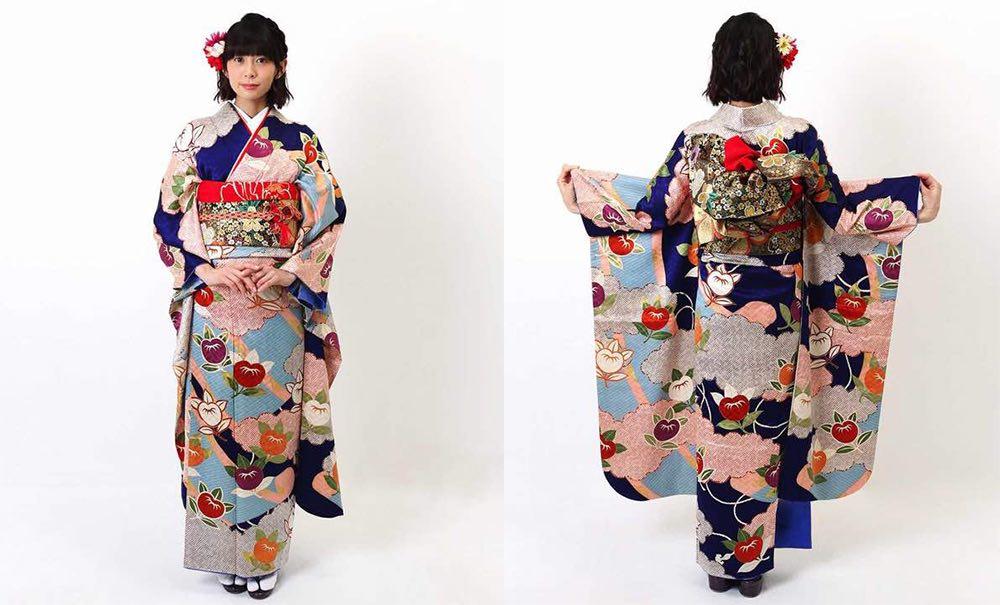 青時に橘と雲取りと匹田 正絹振袖レンタル モデル着用