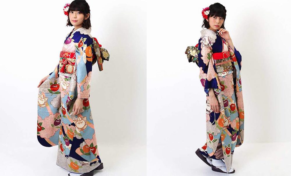 青時に橘と雲取りと匹田 正絹振袖レンタル モデル着用-02