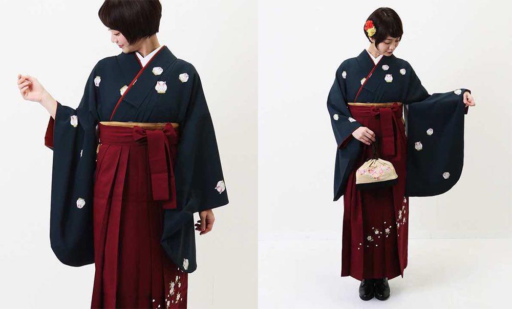真向き兎文様の卒業式袴 モデル着用-01