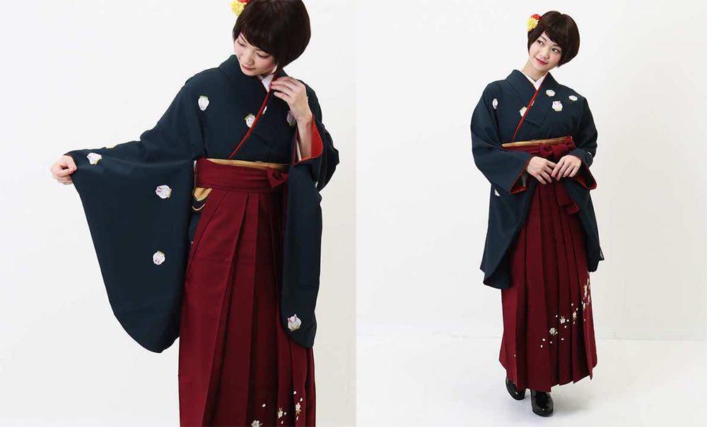 真向き兎文様の卒業式袴 モデル着用-02
