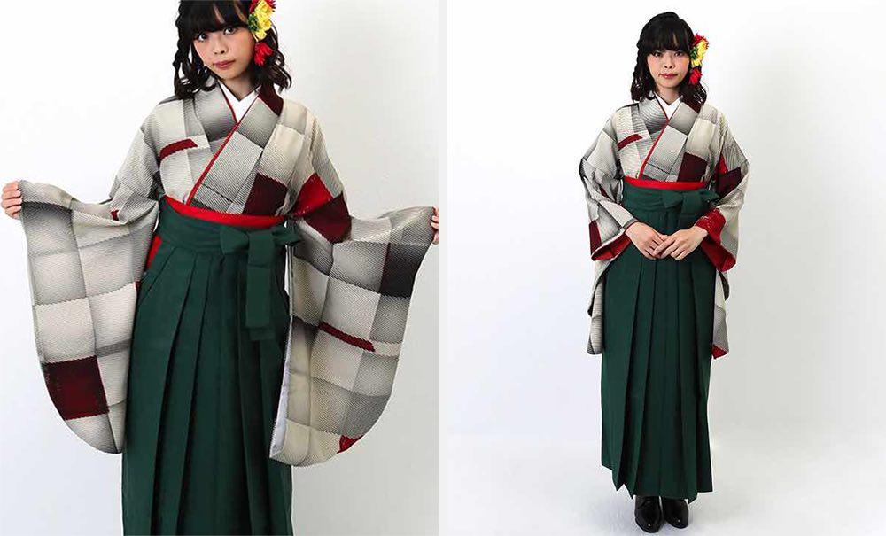 モダンアンテナの卒業式袴レンタル キューブ グレー×赤 緑の袴 モデル着用