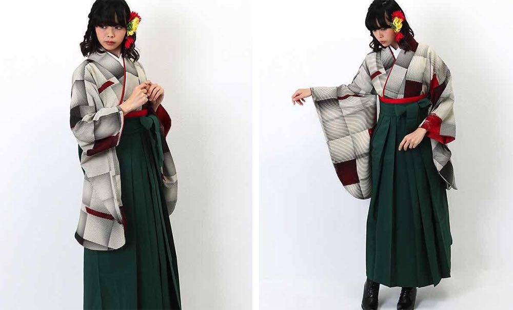 モダンアンテナの卒業式袴レンタル キューブ グレー×赤 緑の袴 モデル着用02