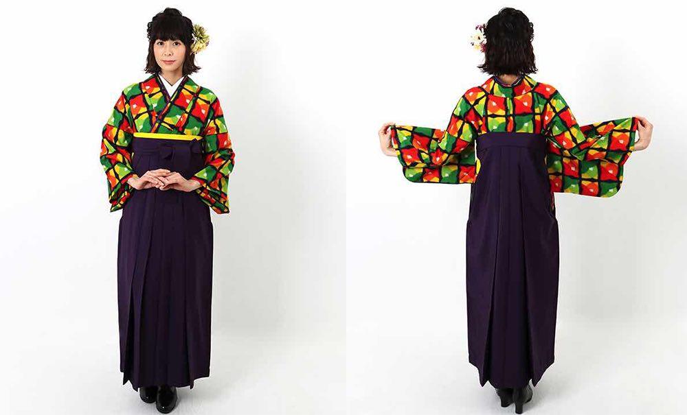 カラフルな銘仙着物 卒業式袴スタイル モデル着用