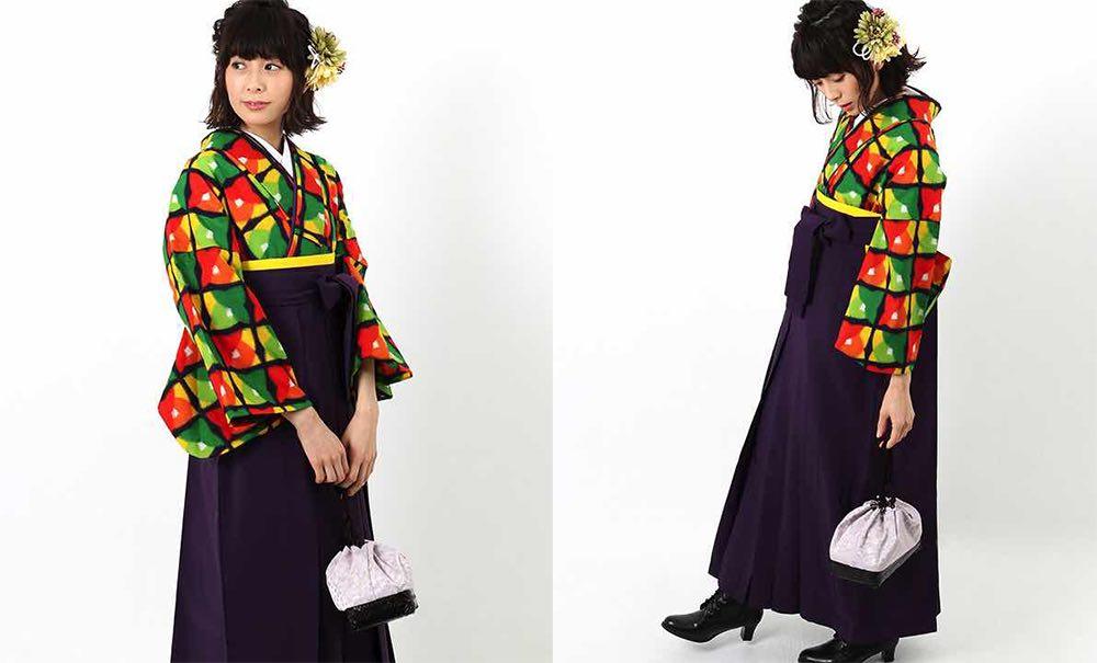 カラフルな銘仙着物 卒業式袴スタイル モデル着用02