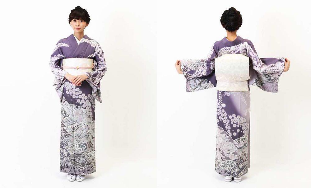 辻が花文様の訪問着 紫地に藤と桜 地紙と雪輪 モデル着用