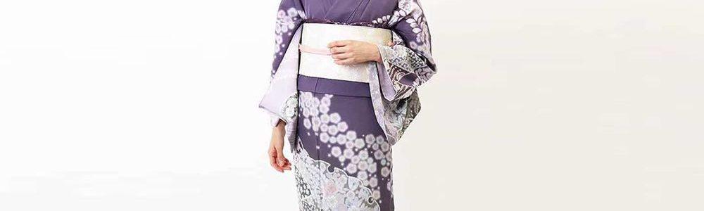 上品な辻が花文様 紫色の正絹訪問着