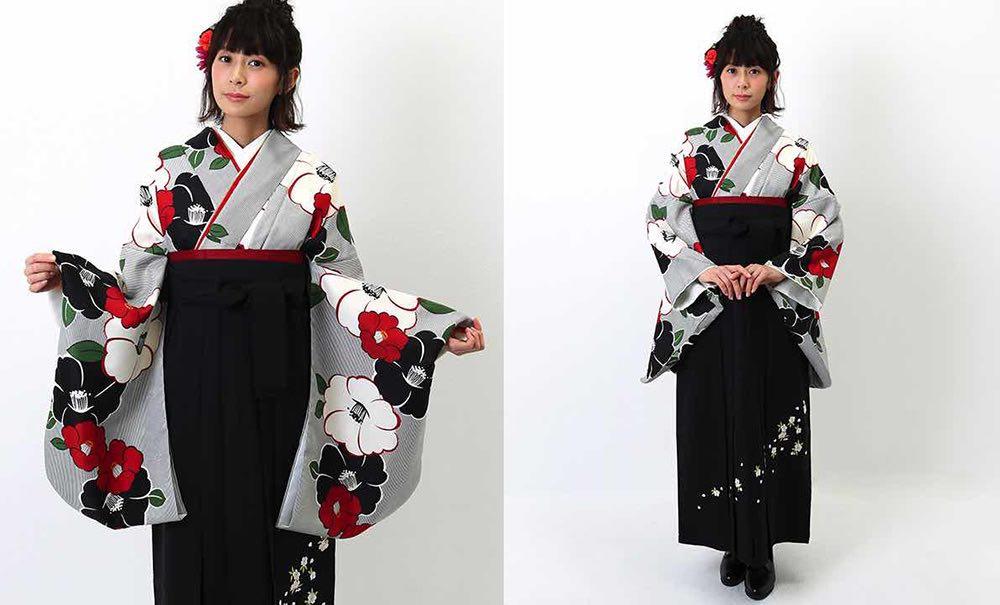 ストライプに椿のモチーフ 人気の卒業式袴 モデル着用01