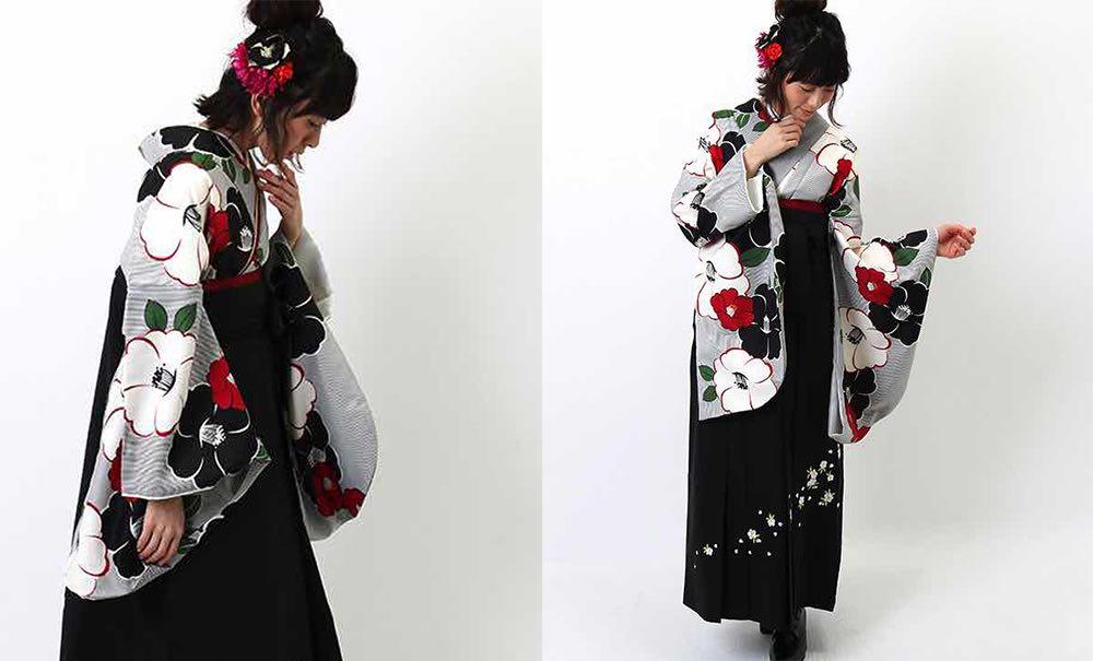 ストライプに椿のモチーフ 人気の卒業式袴 モデル着用-02
