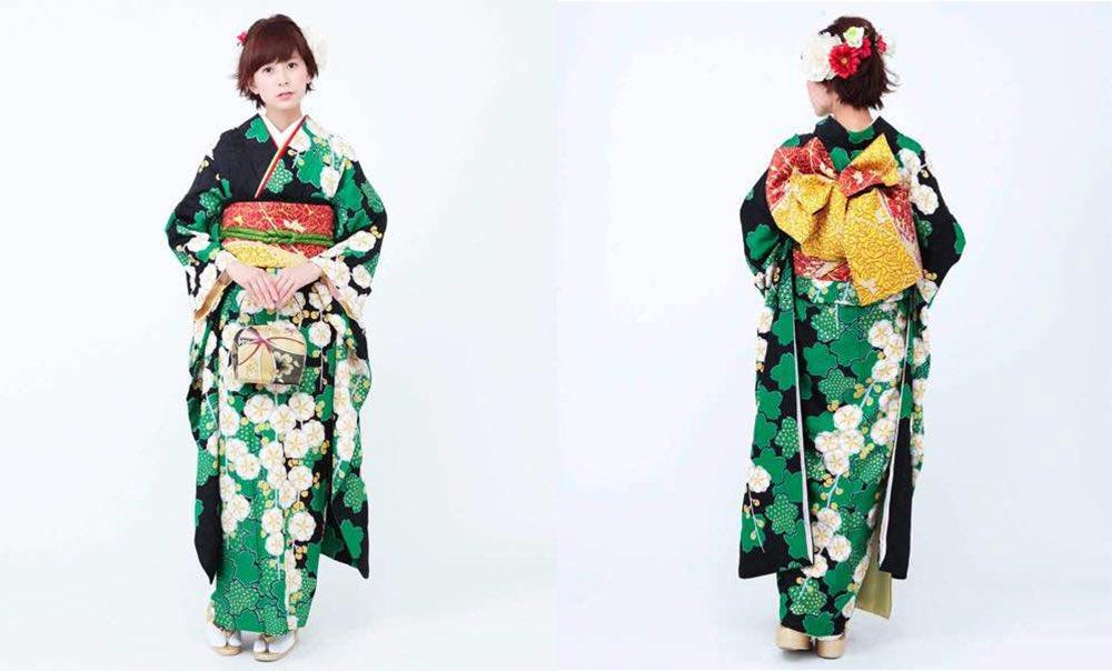 緑の桜と枝垂れ梅 しぼり文様 おすすめ振袖レンタル モデル着用画像1枚目