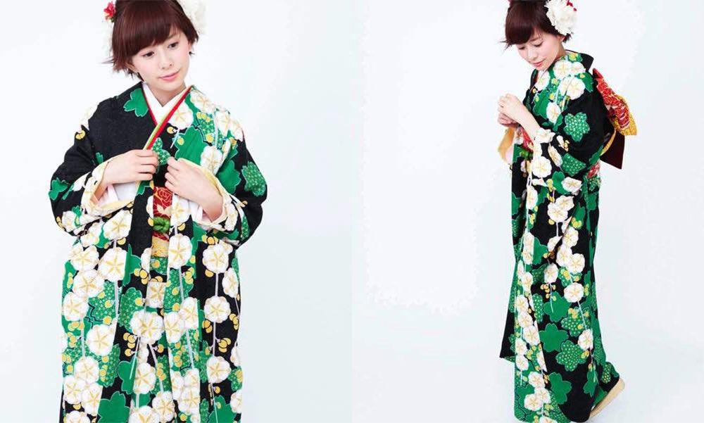 緑の桜と枝垂れ梅のしぼり文様 おすすめ振袖レンタル モデル着用画像2枚目