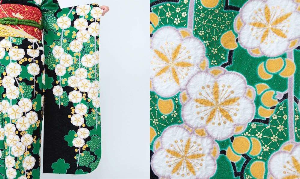 緑の桜と枝垂れ梅のしぼり文様 おすすめ振袖レンタル 生地拡大画像