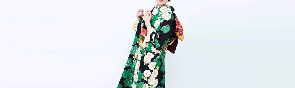 おすすめ振袖レンタル 緑の桜と枝垂れ梅の絞り文様