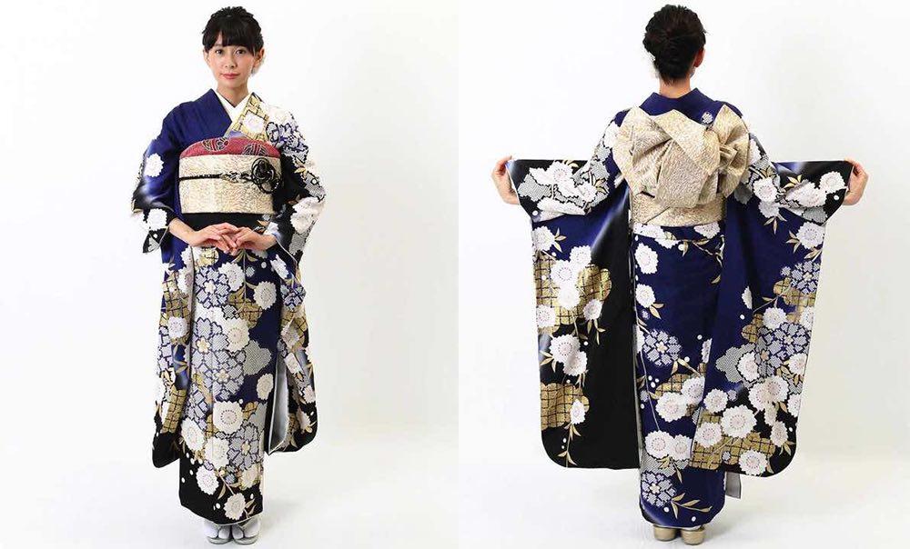 青紺色地に桜と雲 おすすめの振袖レンタル モデル着用1枚目