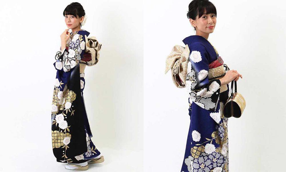 青紺色地に桜と雲 おすすめの振袖レンタル モデル着用2枚目