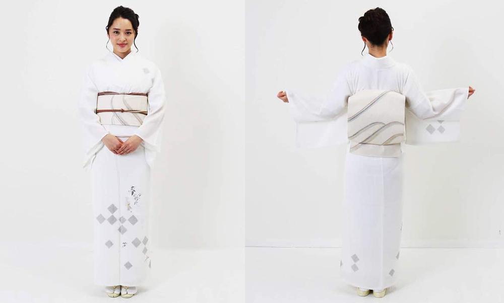 おすすめ単衣レンタル | 白地 鹿の子市松に瓢箪_モデル着用