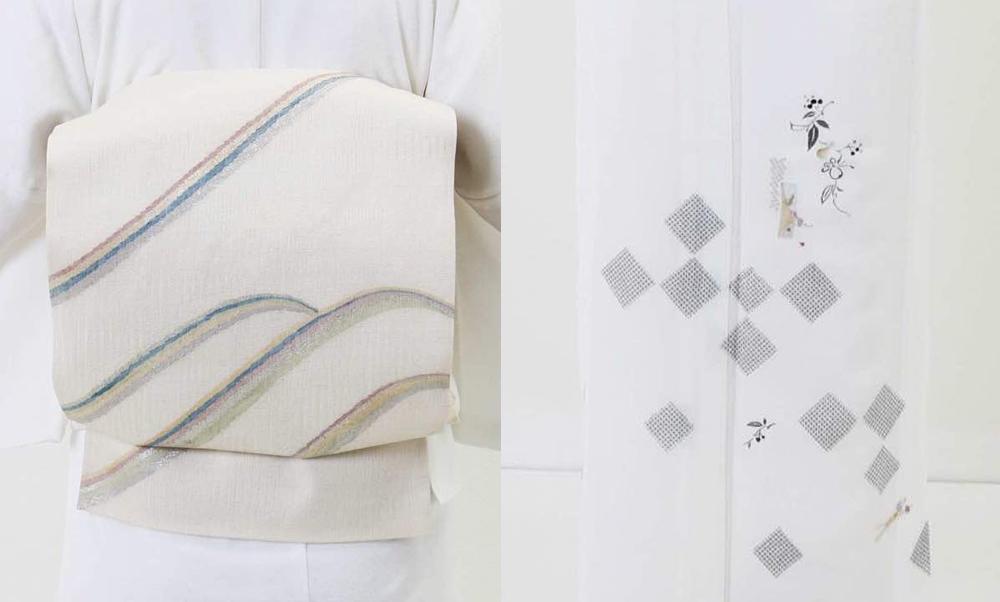 おすすめ単衣レンタル | 白地 鹿の子市松に瓢箪_帯と柄