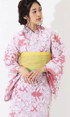 おすすめレディース浴衣レンタル_源氏物語 ピンク地に四季花