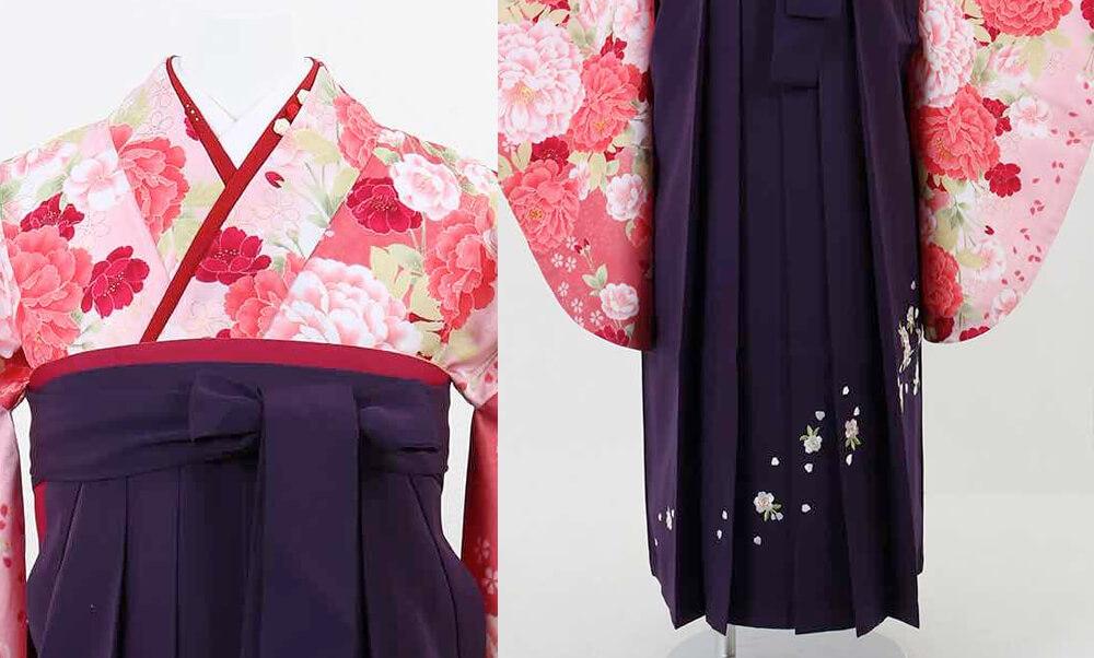 おすすめ卒業式袴(小学生用) レンタル | 濃淡ピンク地に桜と牡丹 刺繍入り濃紫袴_ポイント