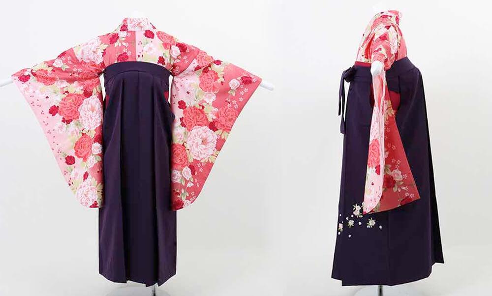 おすすめ卒業式袴(小学生用) レンタル | 濃淡ピンク地に桜と牡丹 刺繍入り濃紫袴_後ろ姿