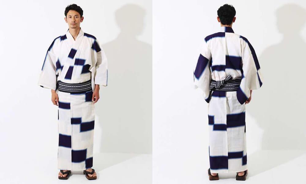 おすすめメンズ浴衣レンタル_白地に紺色の四角模様_モデル着用