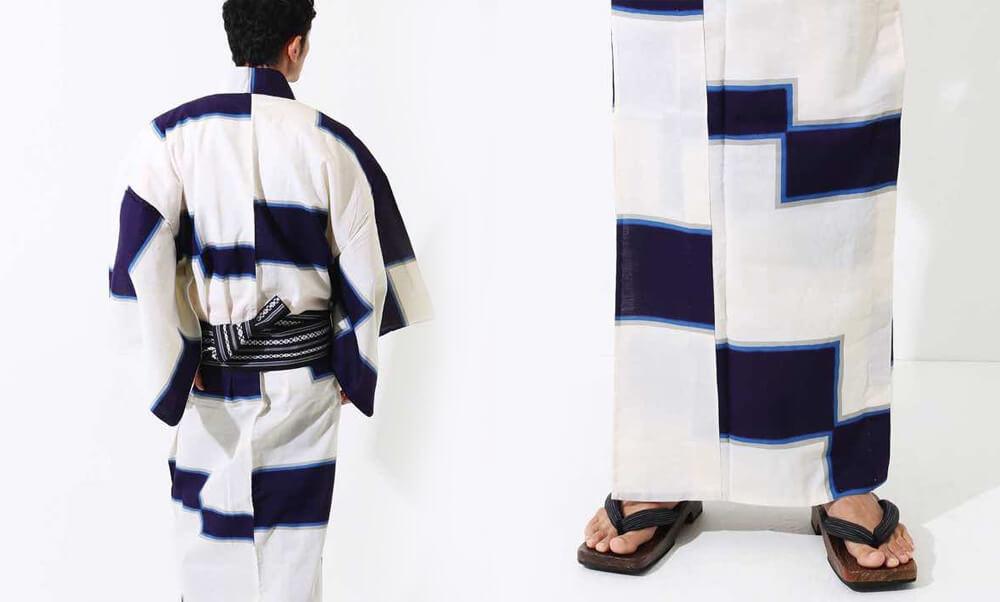 おすすめメンズ浴衣レンタル_白地に紺色の四角模様_モデル着用・帯と柄アップ