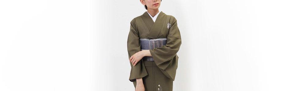 おすすめ夏着物レンタル・絽・正絹 利休色に孔雀