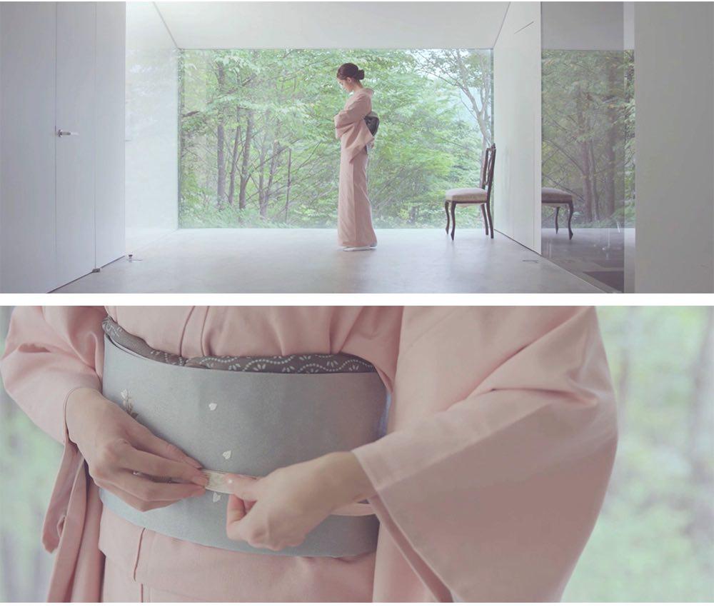 訪問着 | 正絹 結城紬 ピンク麻の葉 おすすめの訪問着レンタル  着付け